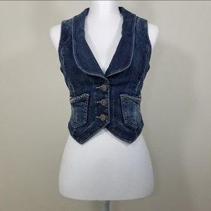 Guess Jeans Denim Stretch Vest Size S